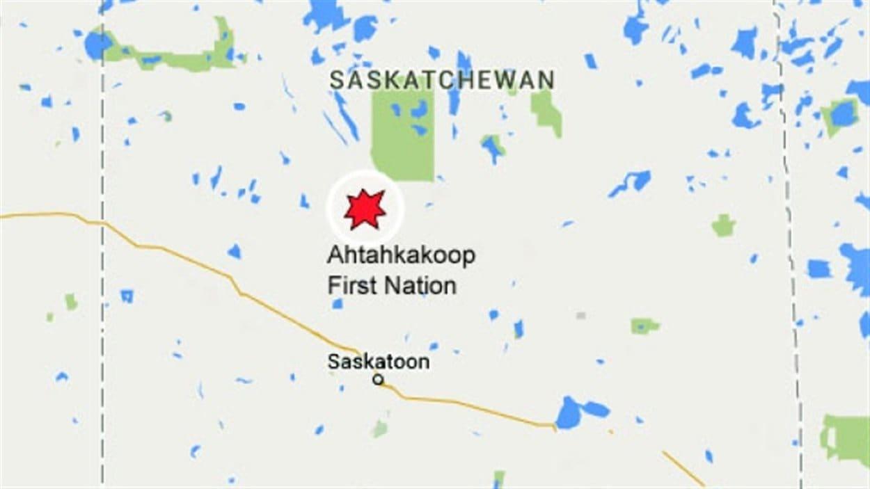 La Première Nation Ahtahkakoop dans laquelle s'est déclaré un feu lundi.