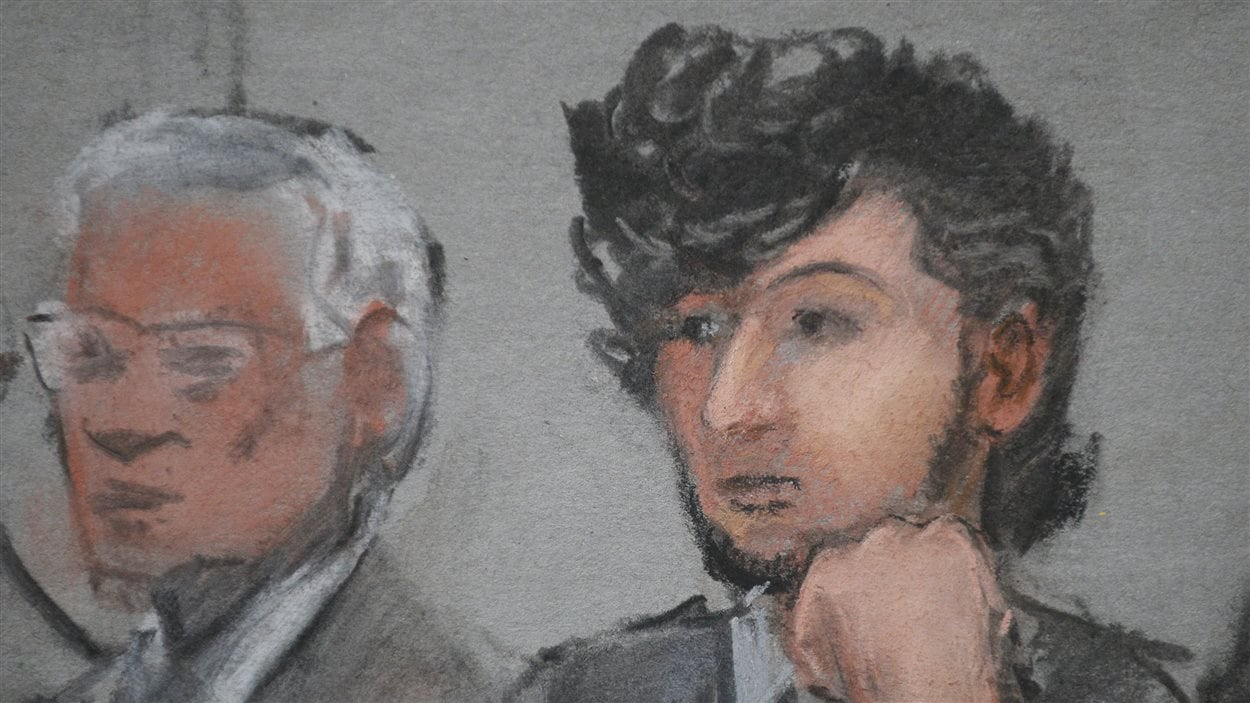 Portrait de Djokhar Tsarnaev lors de la première audience