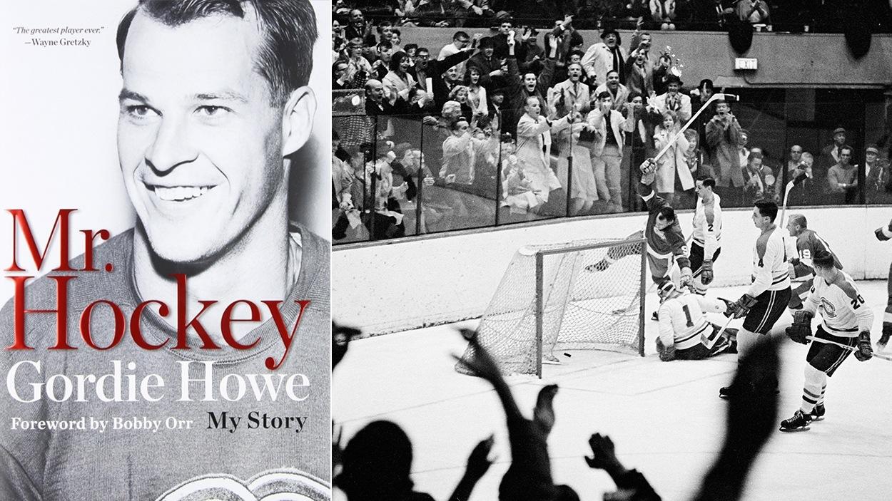La couverture du livre Mr. Hockey: My Story et une photographie du 545e but de la carrière de Gordie Howe