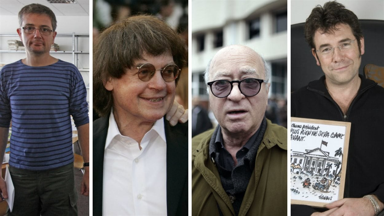 De gauche à droite : Charb, Cabu, Wolinski, et Tignous