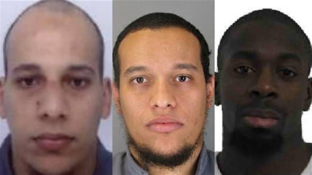 De gauche à droite, Chérif et Saïd Kouachi et Amedy Koulibaly