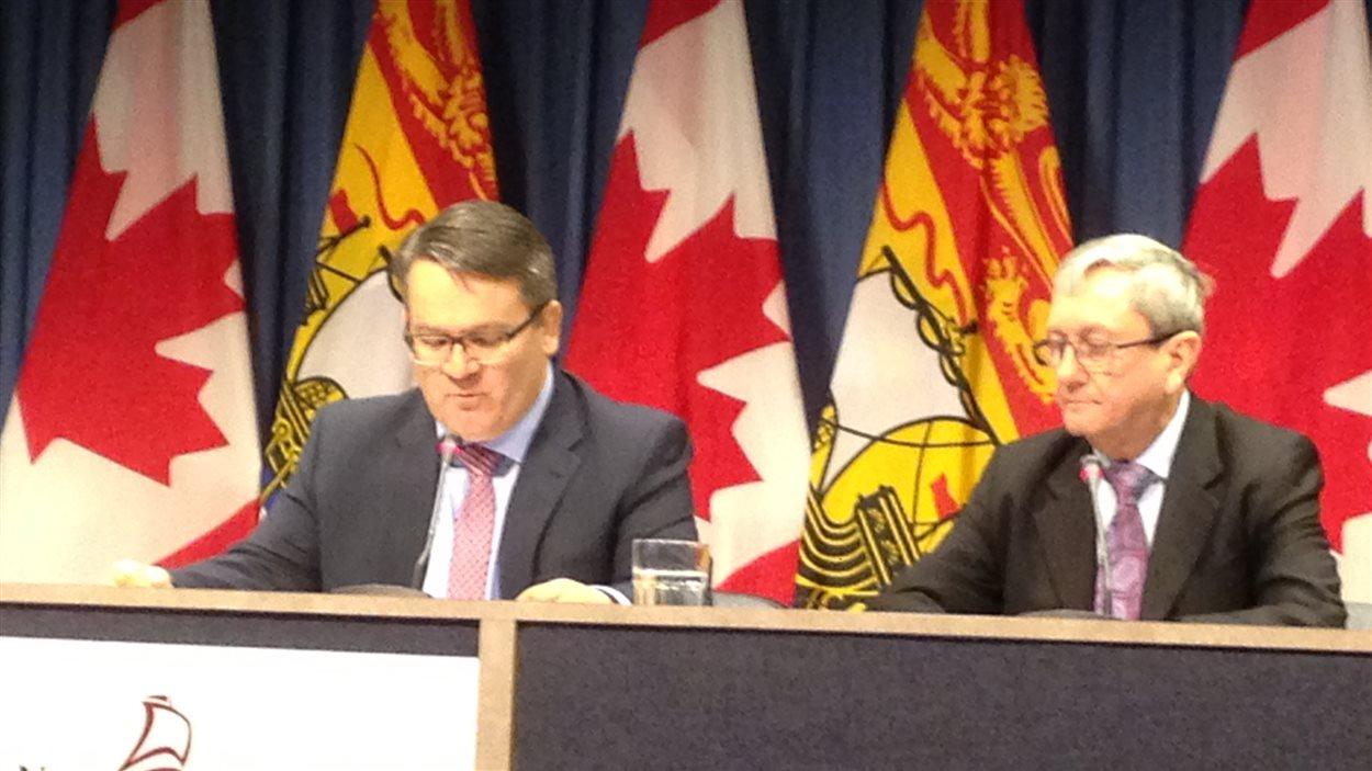 Victor Boudreau et Michael Horgan en point de presse.