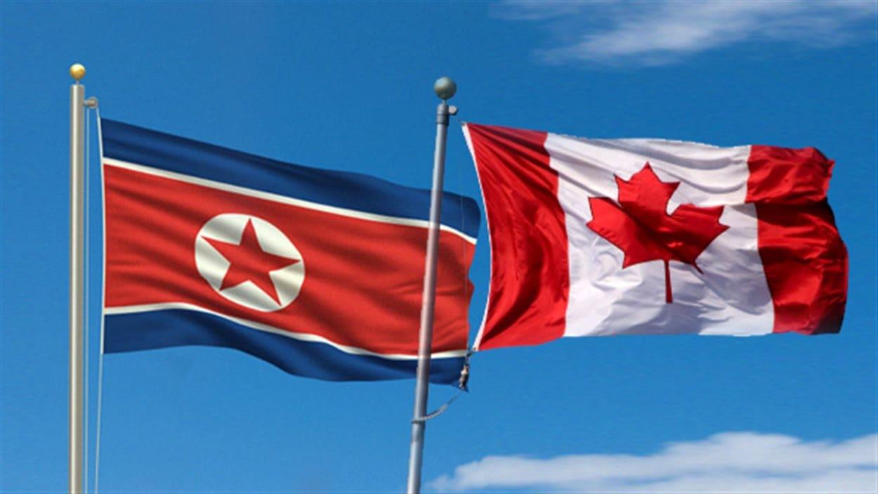 Drapeaux de la Corée du Nord et du Canada