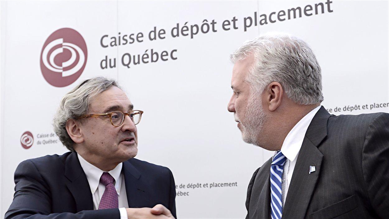 Michael Sabia, président et chef de la direction de la Caisse de dépôt et placement du Québec, et Philippe Couillard, premier ministre du Québec