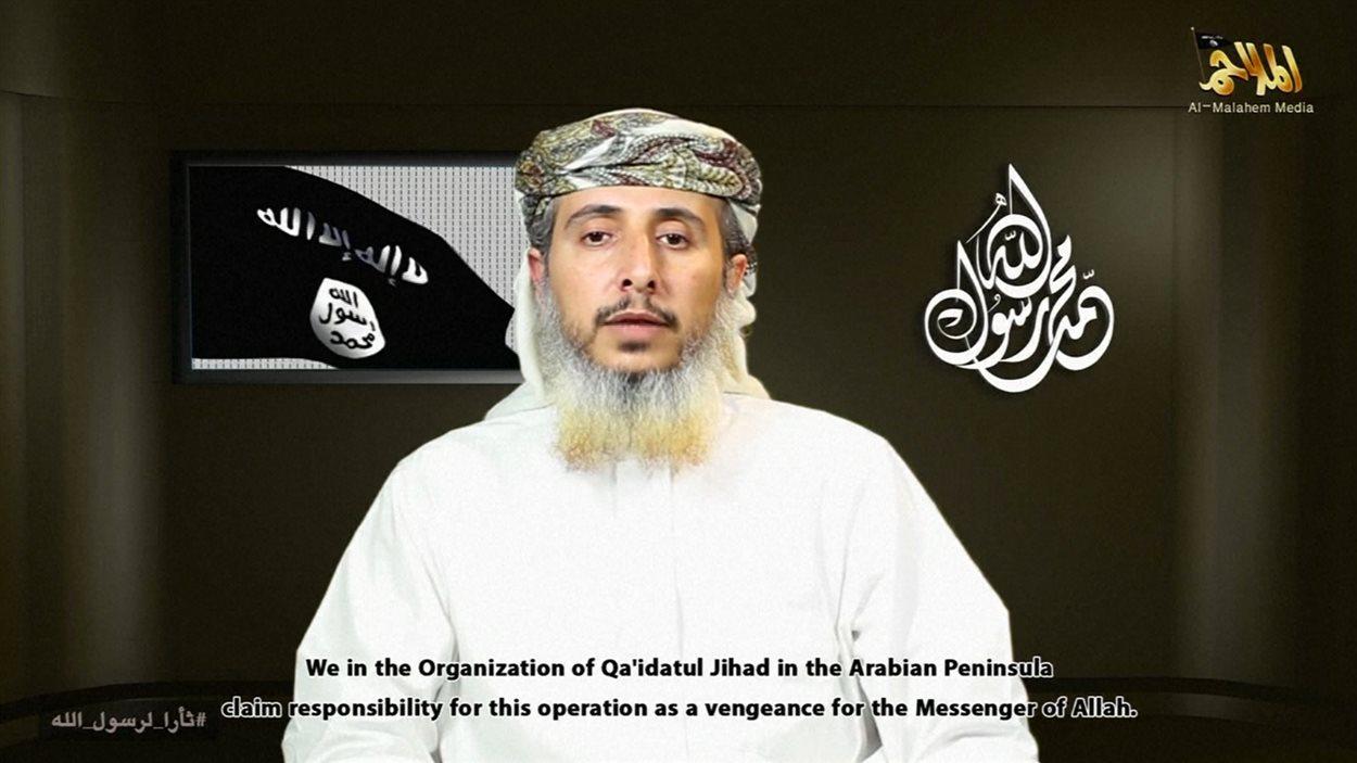 Nasser Ben Ali al-Anassi, dans la vidéo de revendication d'Al-Qaïda dans la péninsule arabique.