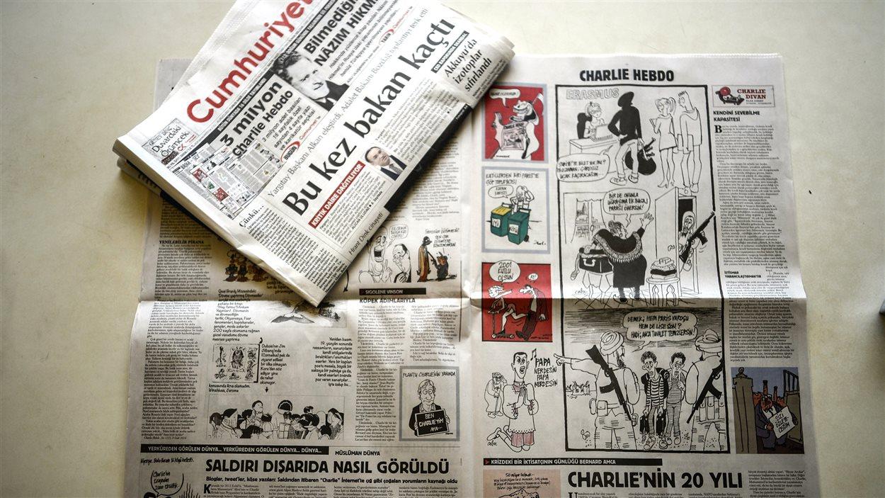 L'encart de Cumhuriyet consacré à Charlie Hebdo.