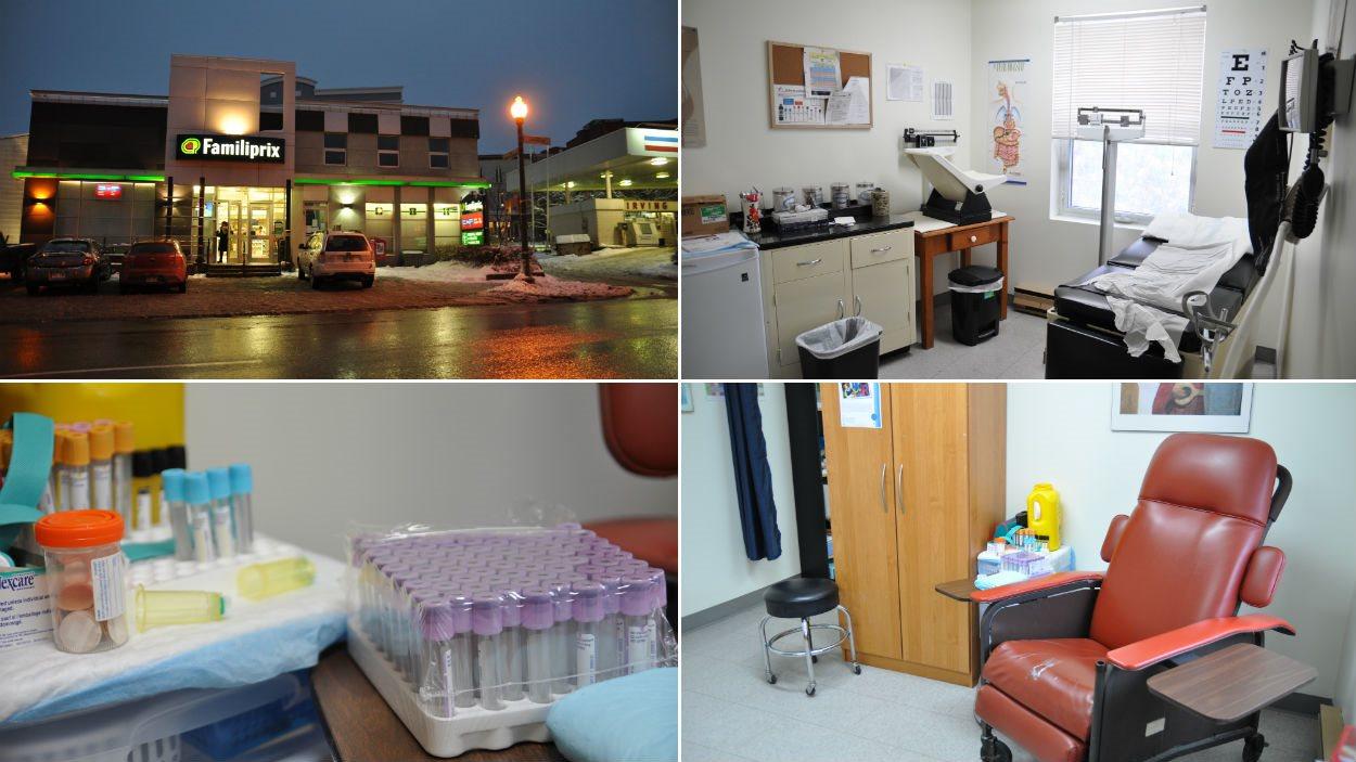 La clinique sans médecin est située au-dessus du Familiprix, à droite. Le bureau de l'infirmière praticienne est équipé pour des examens médicaux et des prises de sang