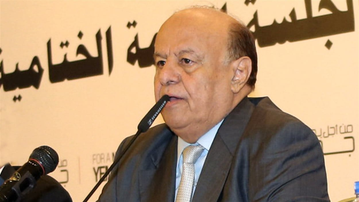 Dans cette photo fournie par le ministère de la Défense du Yémen, on voit le président Abd Rabbo Mansour Hadi en janvier 2014.