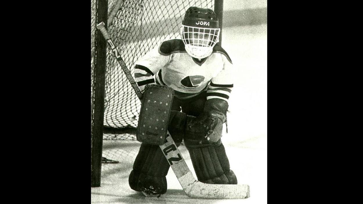 Martin Brodeur lorsqu'il jouait dans le hockey mineur à Saint-Léonard