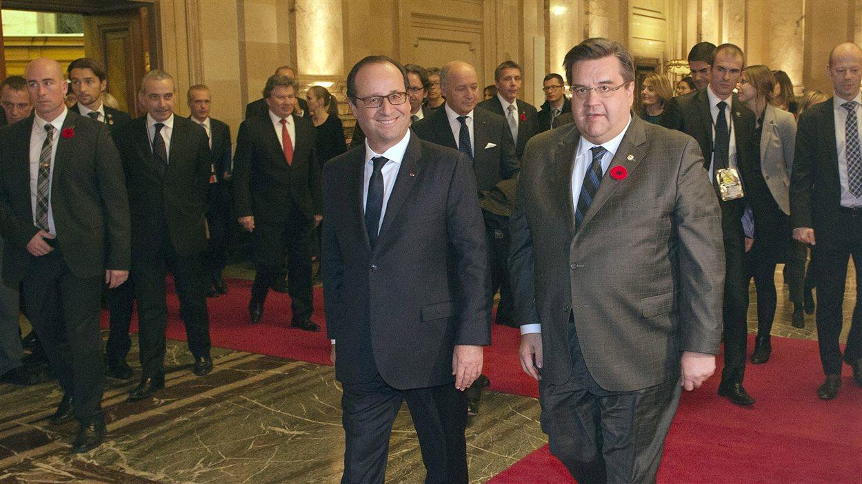 Le président français François Hollande et le maire de Montréal Denis Coderre, en novembre 2014.