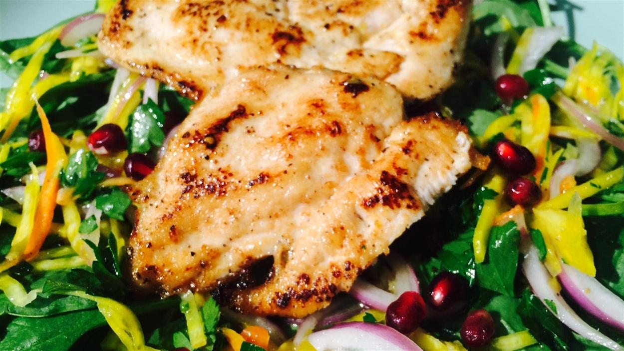 Escalopes de poulet au citron et salade de betteraves et de carottes