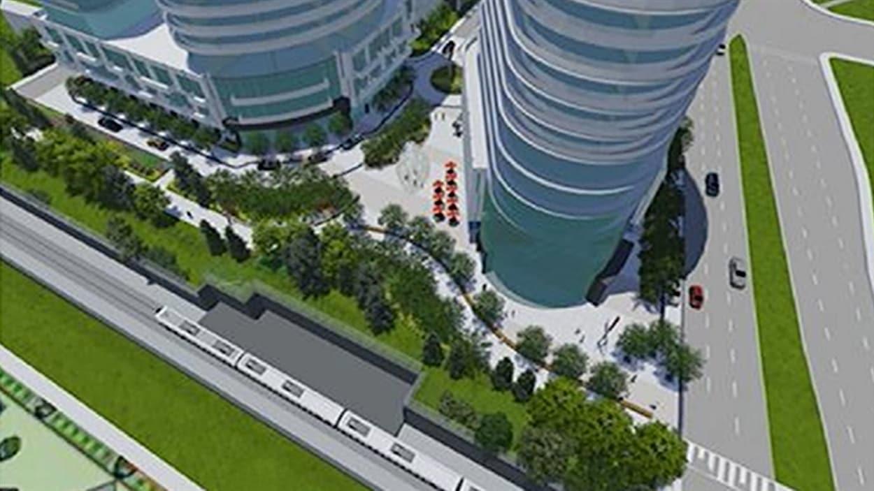 Une illustration du complexe immobilier que veut construire l'entreprise Richcraft Homes près du lac Dow, à Ottawa