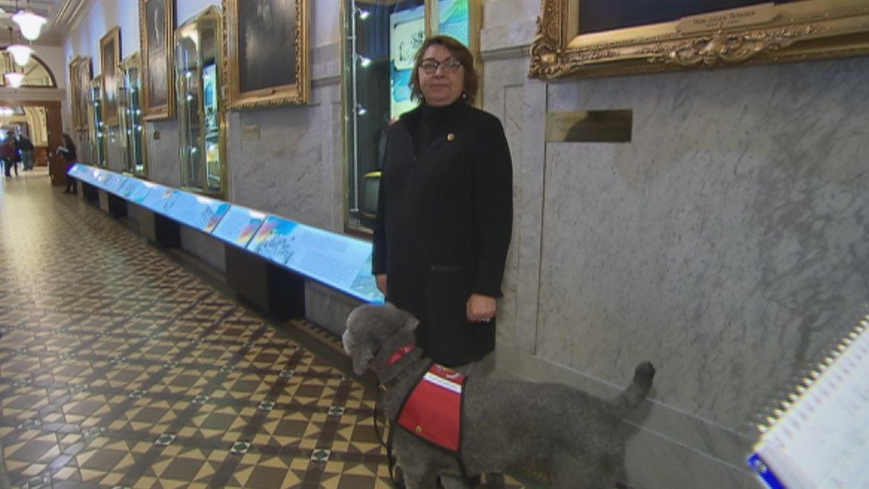 Le chien Pepper accompagne fidèlement la députée caquiste Claire Samson.