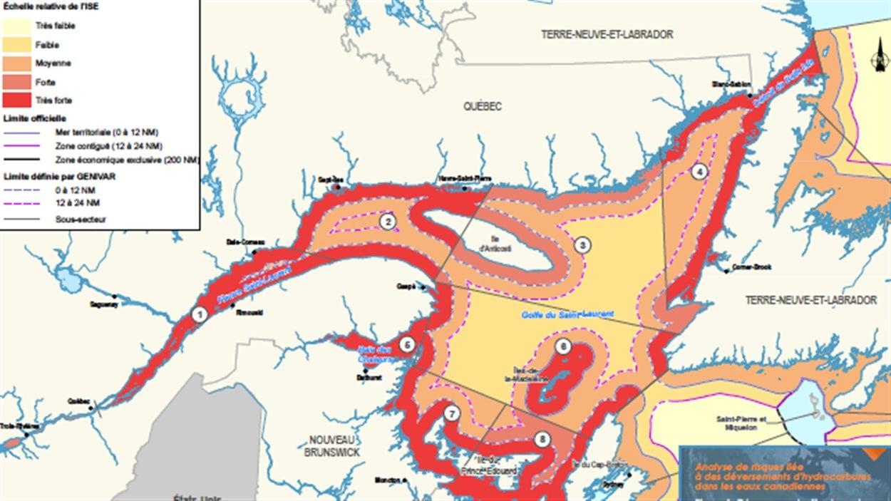 Indice de sensibilité environnementale du Saint-Laurent selon une étude de Genivar produite pour Transports Canada en novembre 2013. Le rouge correspond à l'échelle