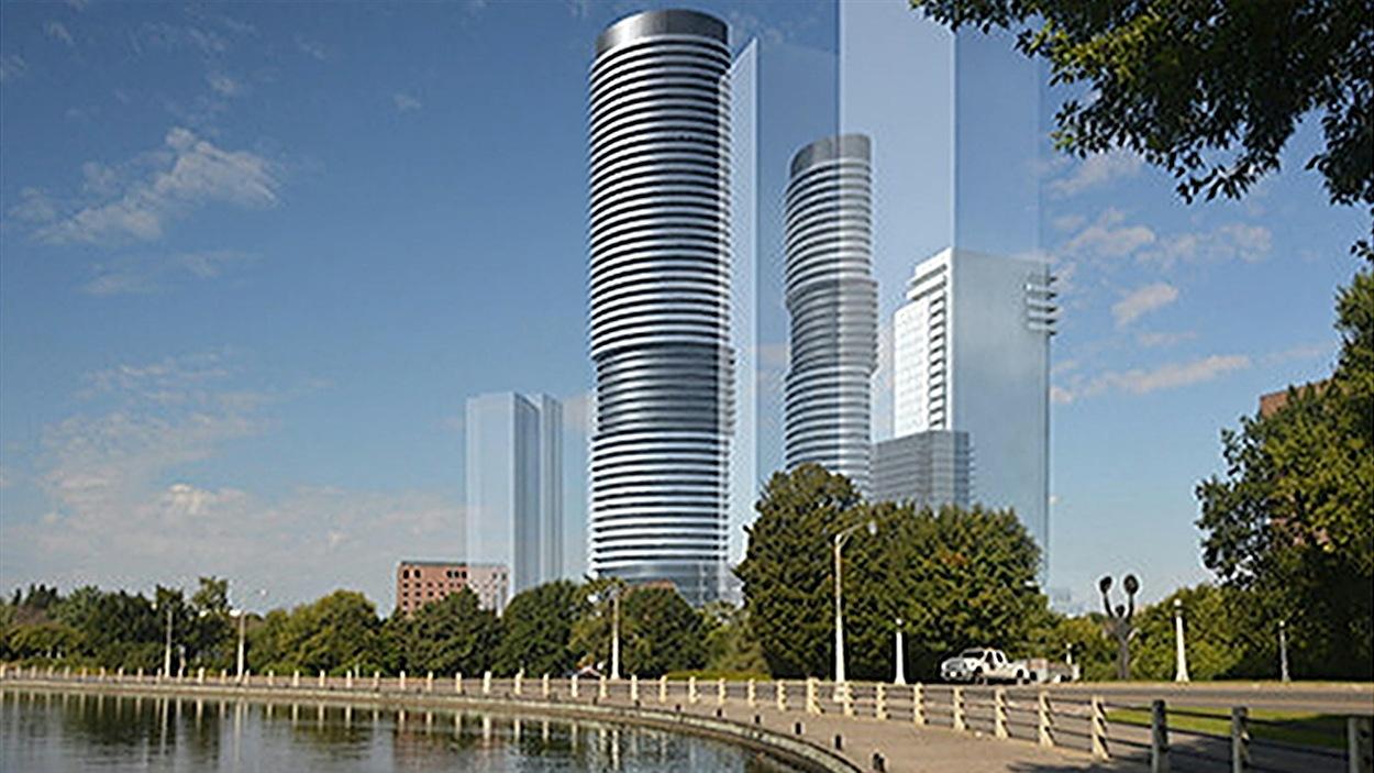 Le projet immobilier de l'entreprise Richcraft Homes prévoit la construction de trois tours de 18, 45 et 55 étages près du lac Dow, à Ottawa.