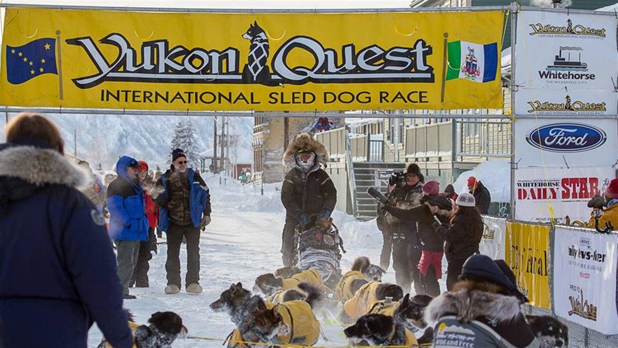 Brant Sass et ses 14 chiens sous la bannière du Yukon Quest à son arrivée à Dawson City.
