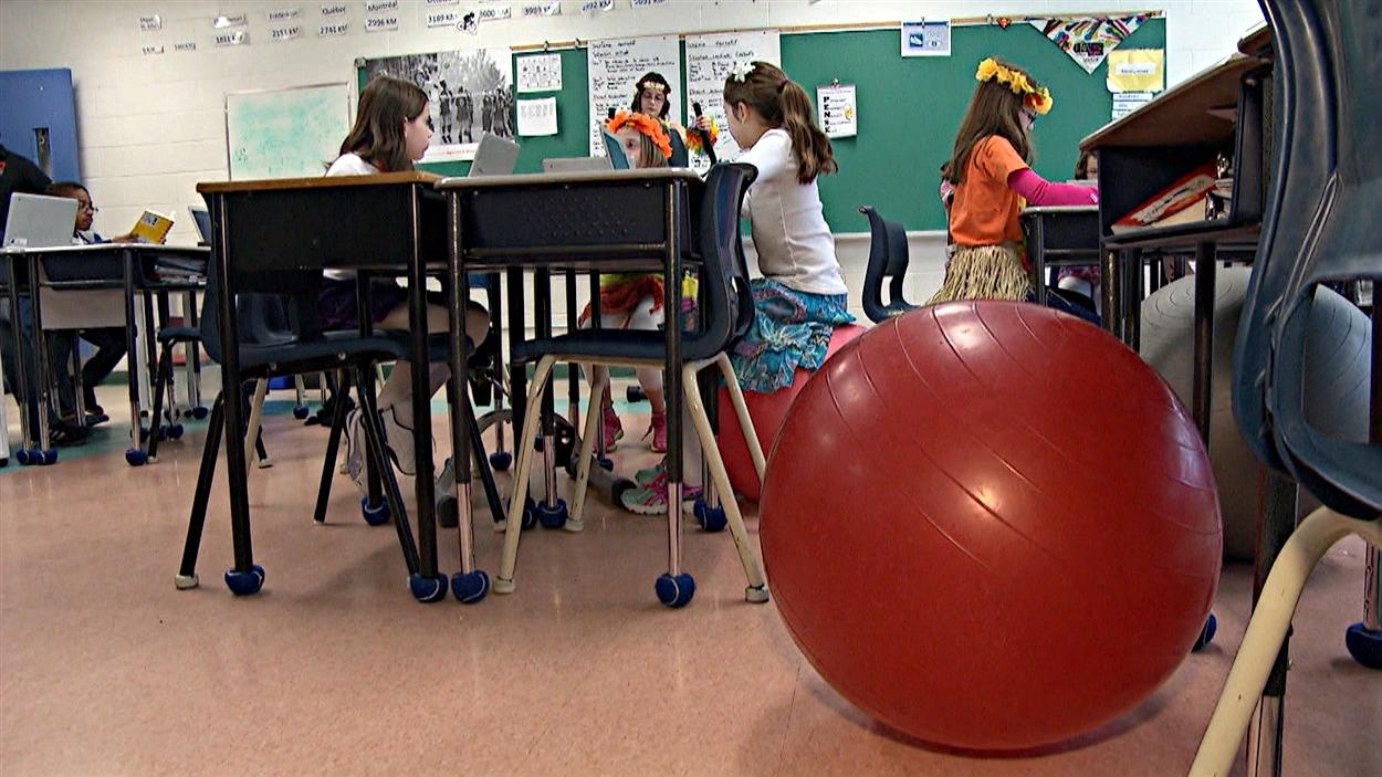 Les élèves peuvent également utiliser des ballons pour brûler leur trop-plein d'énergie.