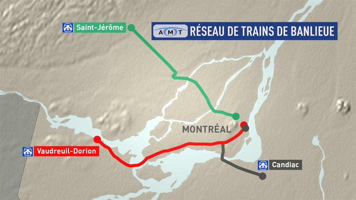 Les lignes de train de banlieue de l'AMT affectées par la grève du CP, lundi