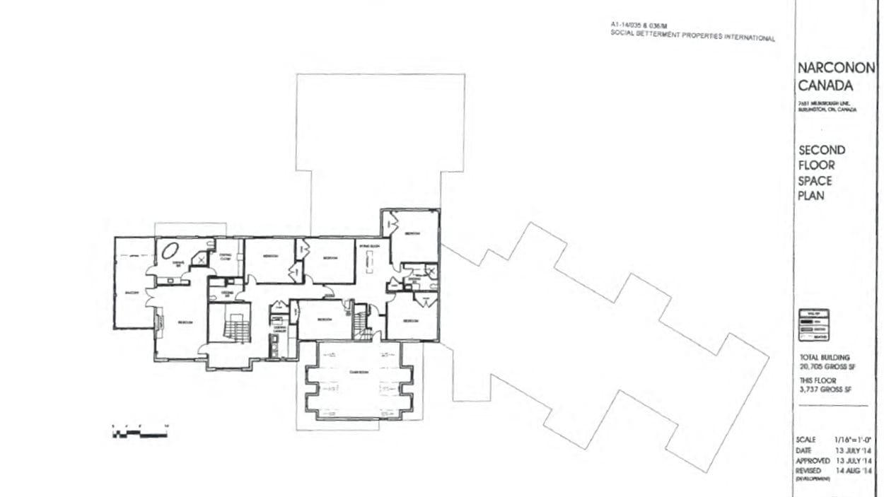 Deuxième étage du projet de Narconon à Milton.