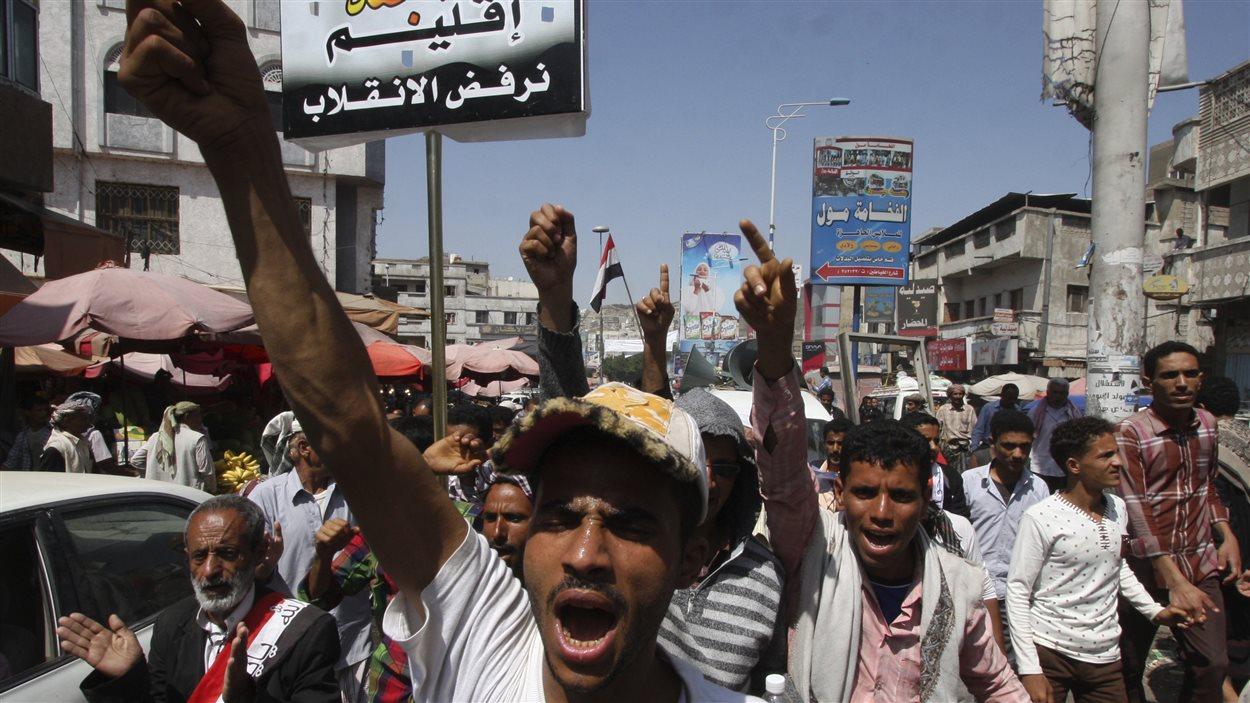 Manifestation hostile aux rebelles houthis, à Sanaa, au Yémen.
