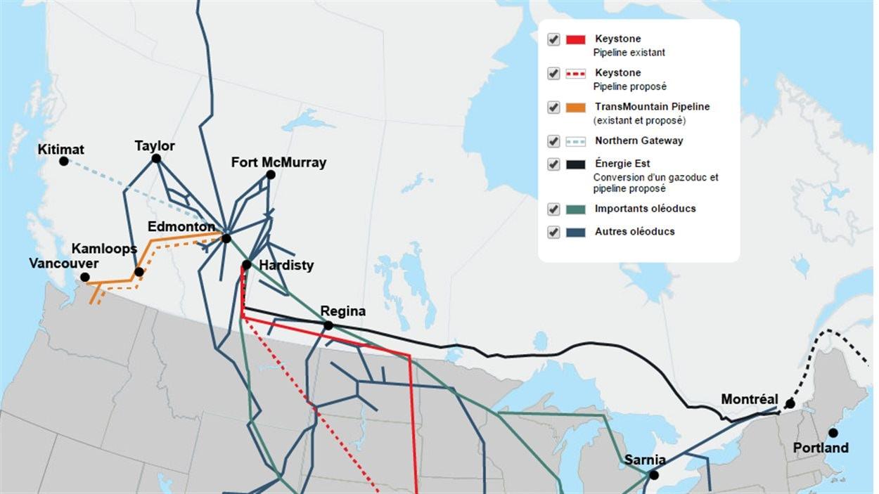 Une carte des pipelines au Canada.