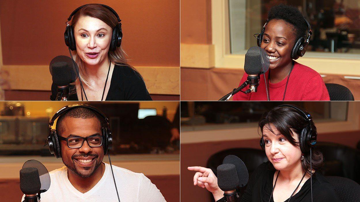 À partir d'en haut à gauche, dans le sens horaire: Luiza Cocora, Dayane Ntibarikure, Talia Hallmona et Frédéric Pierre
