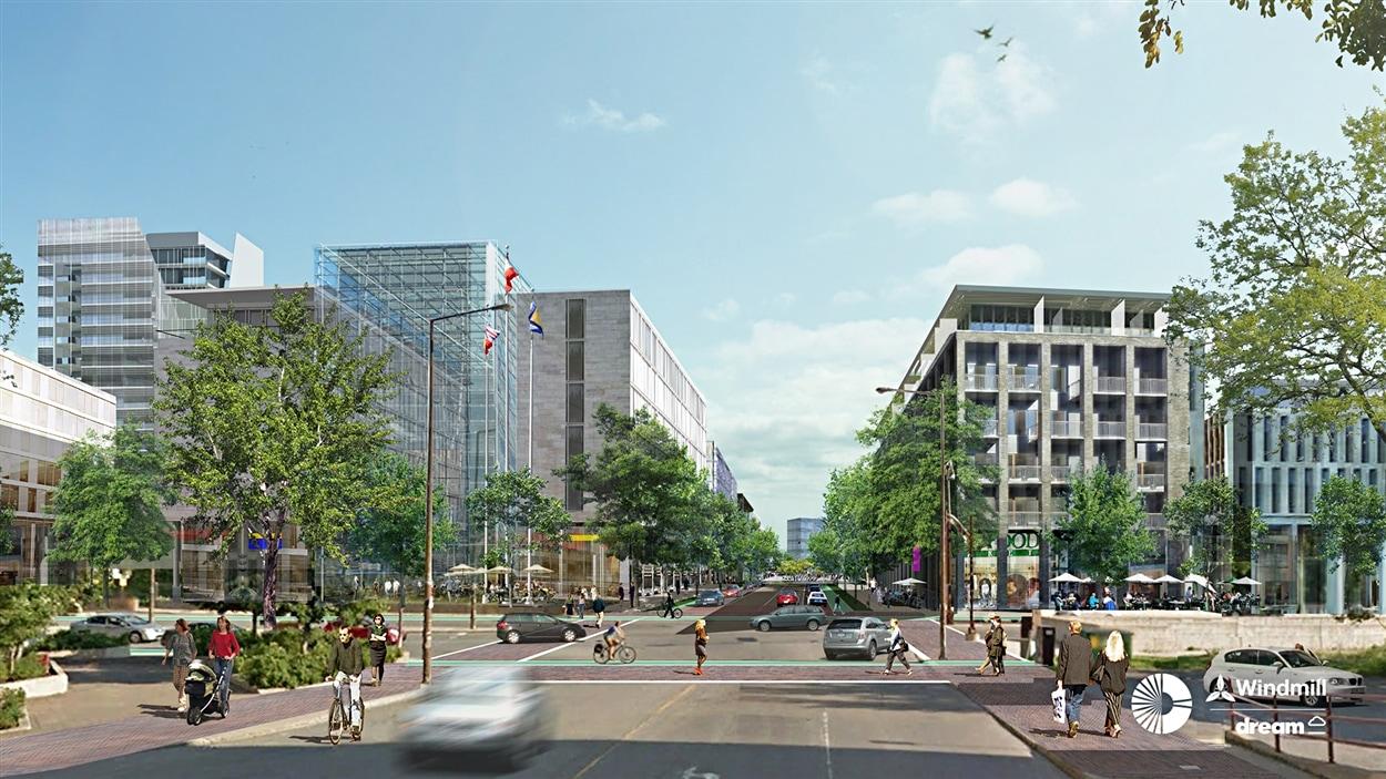 Une vue d'artiste du projet immobilier Zibi, dans le secteur de la rue Laval