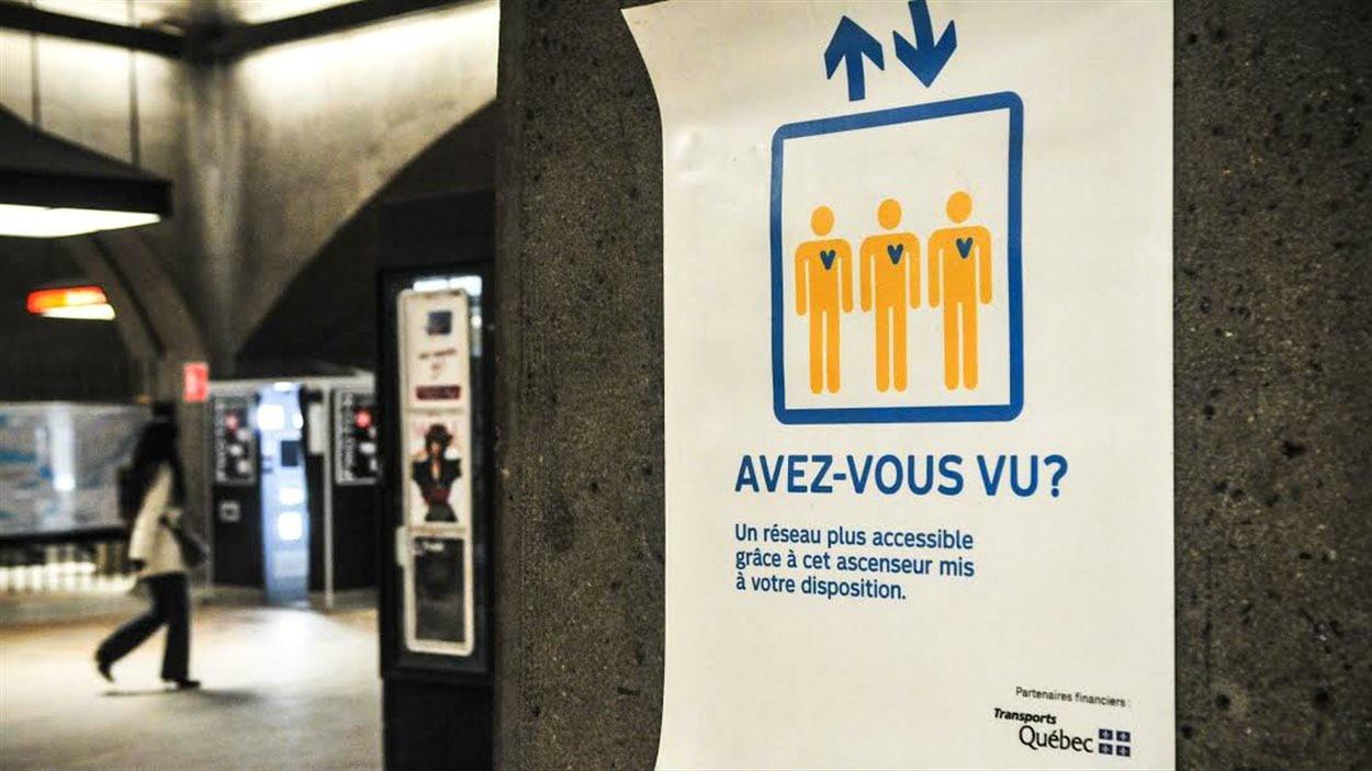 Affiche dans le métro Bonaventure.