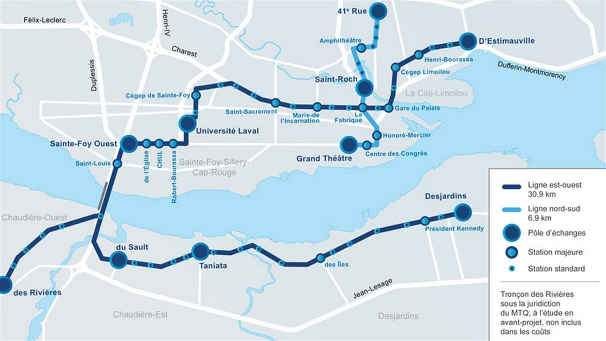 La carte du tracé projeté pour le SRB