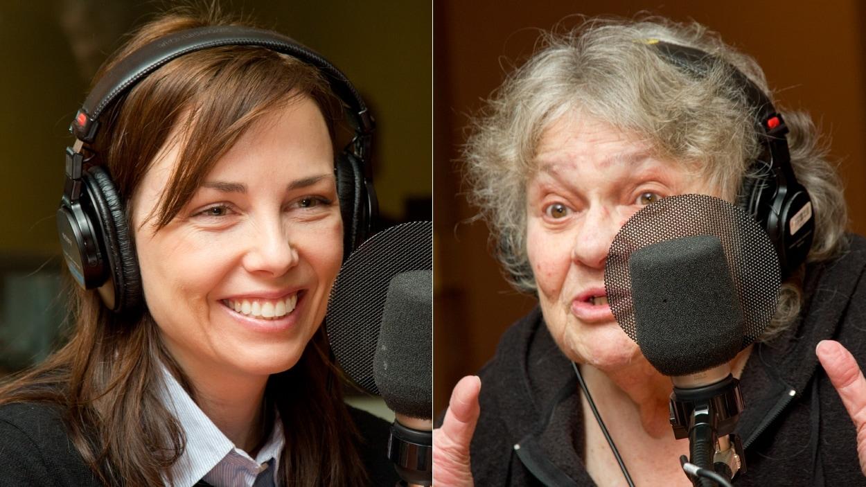 La comédienne Maxim Roy et l'ancienne critique de télévision Louise Cousineau
