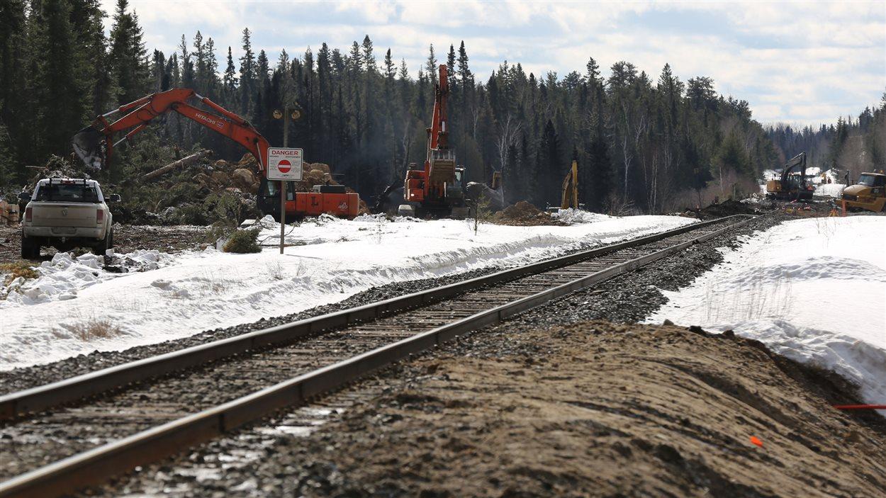 Le tronçon en réparation par le CN pour permettre le passage des trains.