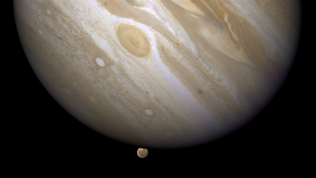 La planète Jupiter et sa lune Ganymède