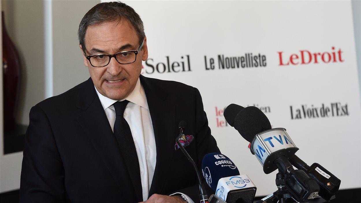 Martin Cauchon, lors de la conférence de presse qui avait lieu à Québec.