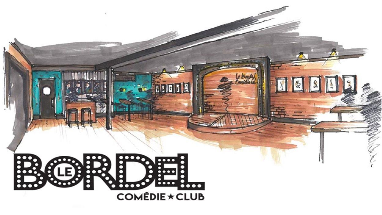 Maquette du cabaret humoristique Le Bordel, à Montréal