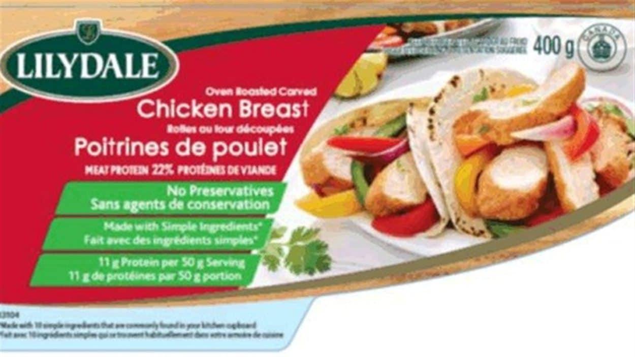 La compagnie Lilydale rappelle son produit de poitrines de  poulet rôties au four ayant une date de préemption du 28 avril 2015, en raison d'une contamination possible à la bactérie Listeria.