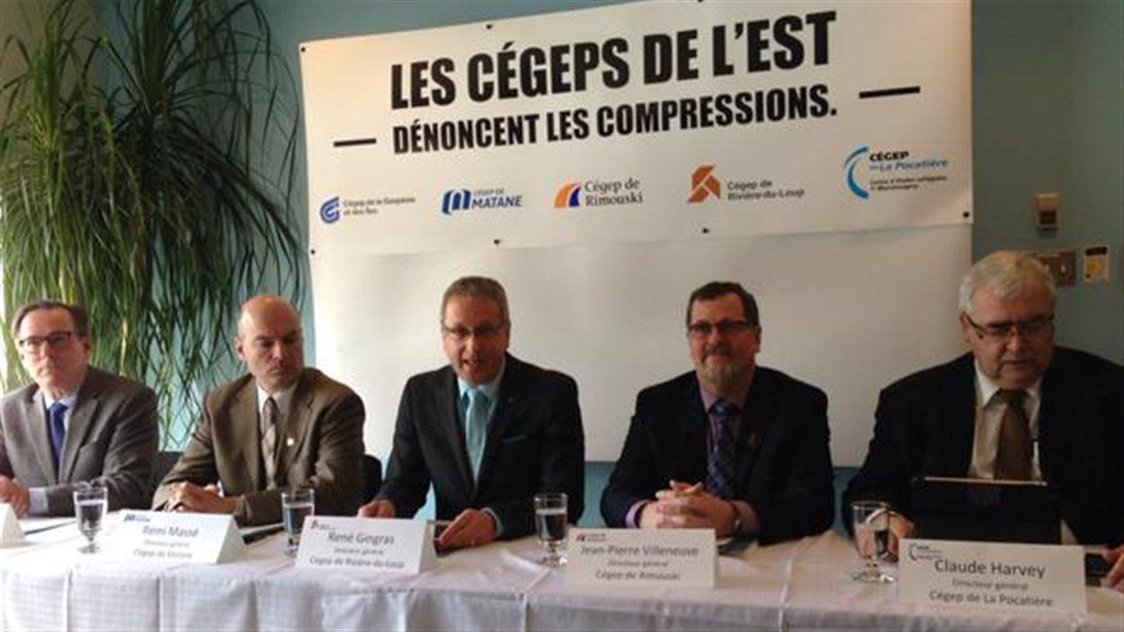 Les directeurs généraux des cinq cégeps de l'Est du Québec