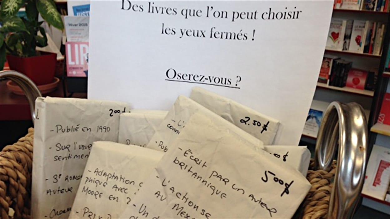 Le panier à livres-mystère de la librairie L'Exèdre à Trois-Rivières
