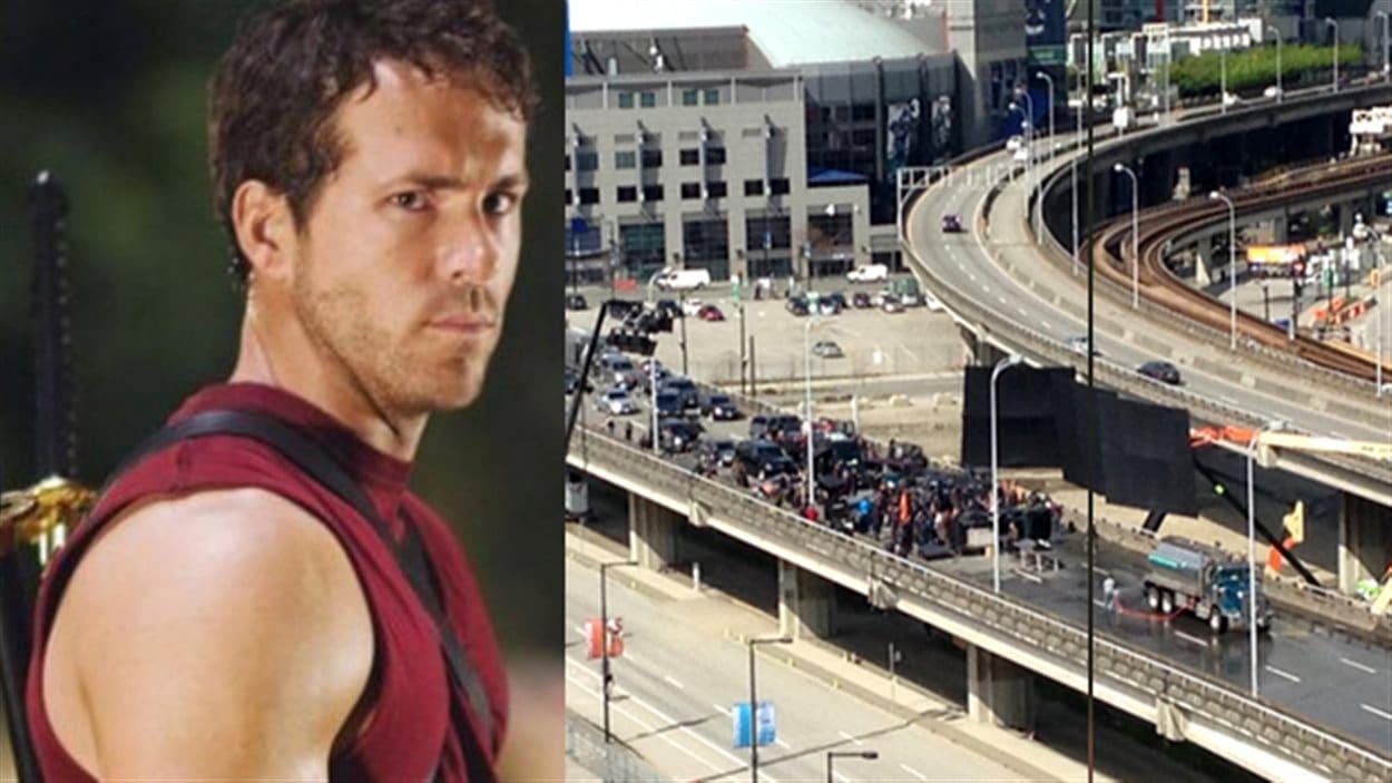 À droite l'acteur vancouvérois Ryan Reynolds et à gauche le viaduc de la rue Georgia bloquée par le tournage.