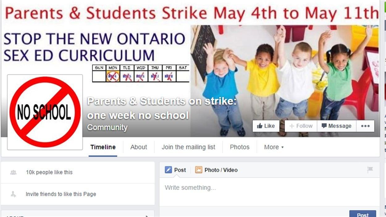 Le site Facebook appelant à la protestation contre le nouveau programme d'éducation sexuelle