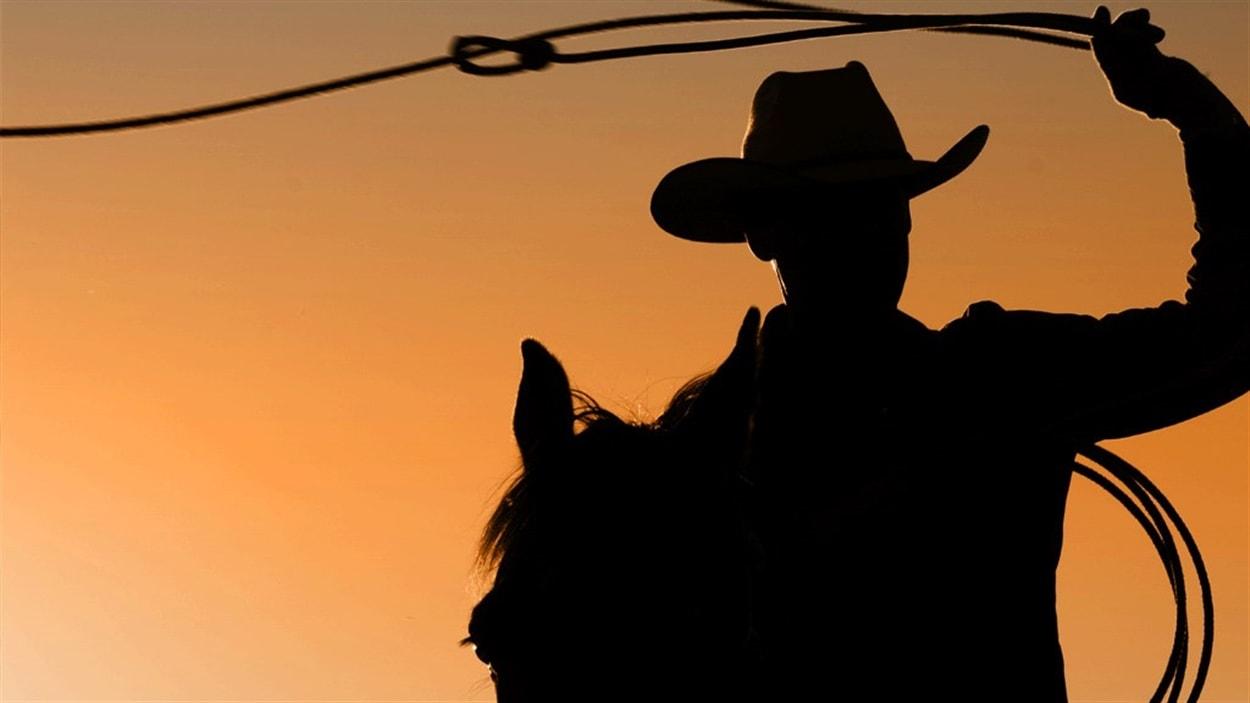 Un cowboy avec son lasso sur son cheval.