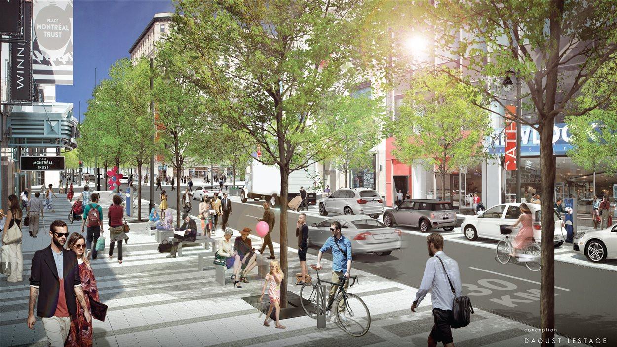 Conception de la rue Sainte-Catherine Ouest près de la place Montréal Trust avec la présence d'automobilistes, selon les modifications prévues par l'administration Coderre.