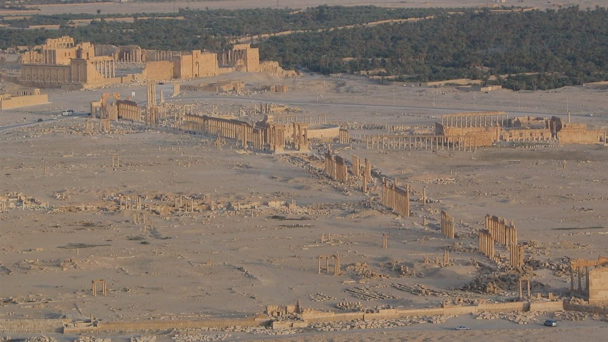 Vue d'ensemble du temple de Baal et de la grande colonnade, à Palmyre en Syrie