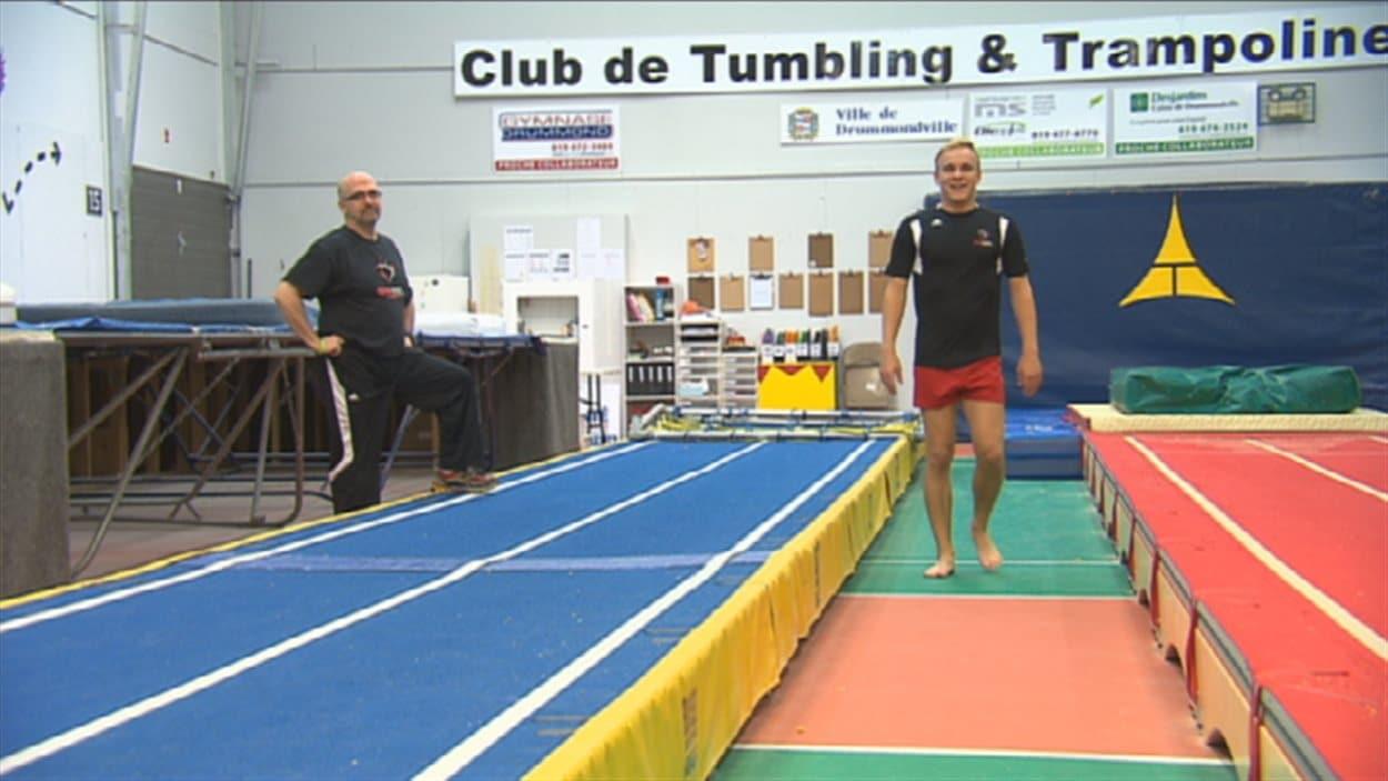 Guy St-Michel et Vincent Lavoie lors d'un entraînement à Drummondville.