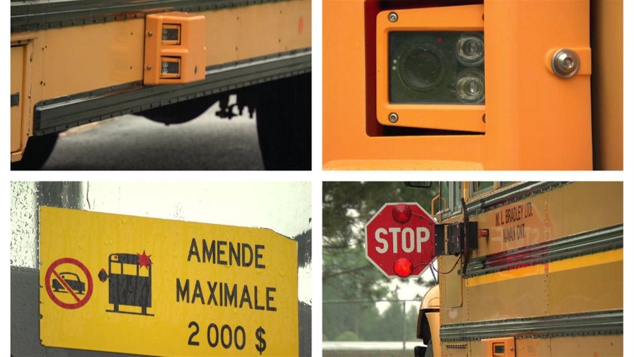 Les caméras installées sur un autobus scolaire d'Ottawa.