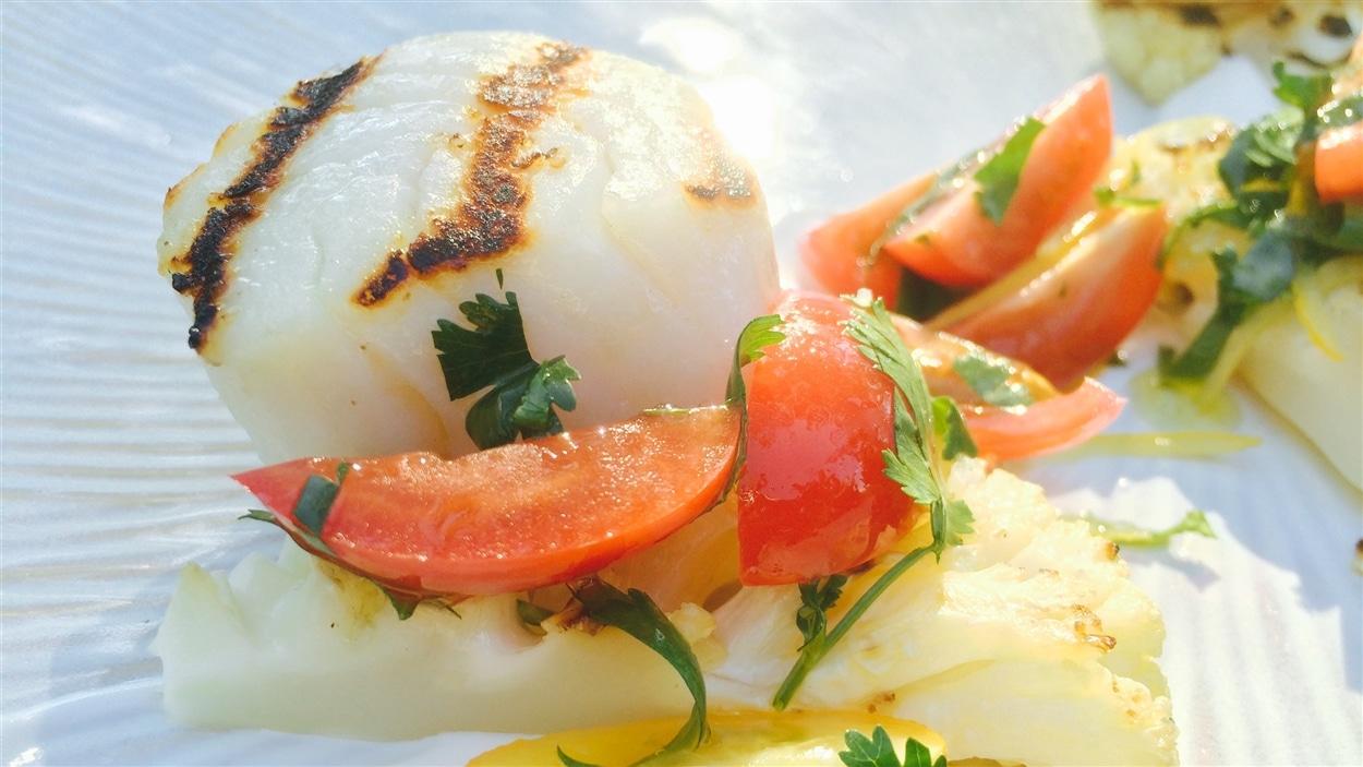 Pétoncles et chou-fleur grillé
