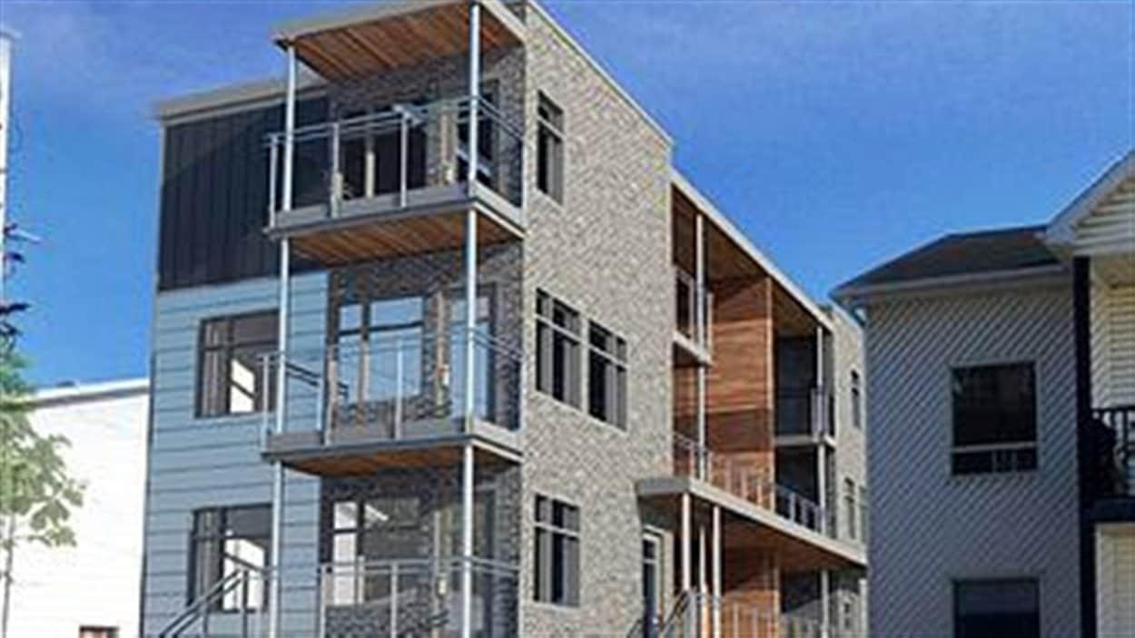 La maquette du projet de construction de logements sociaux mené par la Coopérative d'habitation rue St-Pierre
