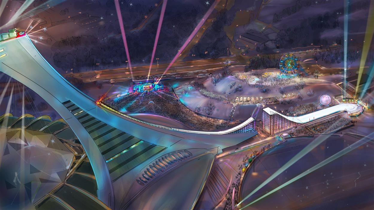 Représentation artistique de la rampe de saut à ski sur le mat du stade olympique