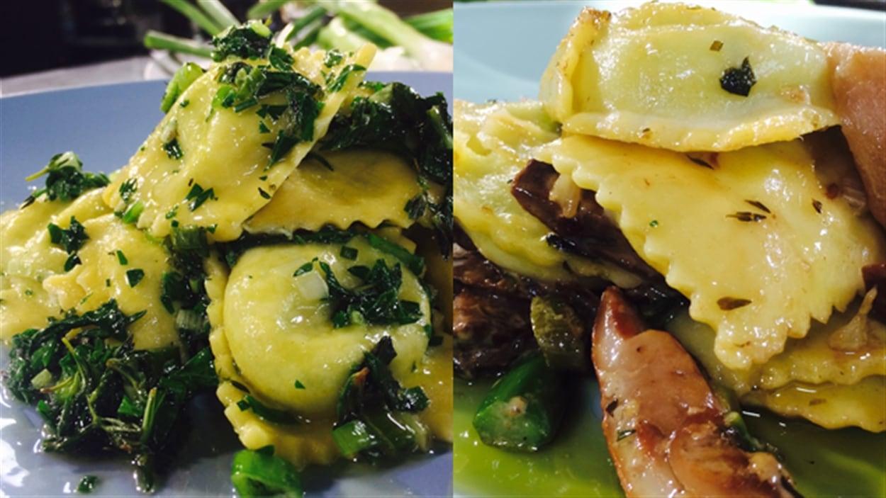 Raviolis aux quatre fromages, sauce au beurre et aux herbes ou sauce aux champignons porcinis