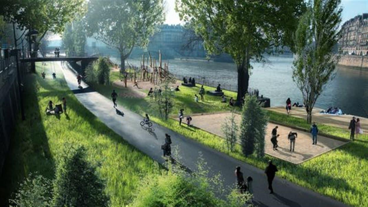 Les futures berges de Paris, telles qu'illustrées par la Mairie de Paris.