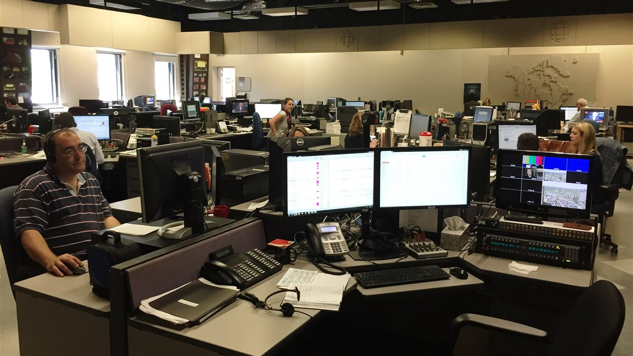 La salle des nouvelles de Radio-Canada-Acadie, anciennement le grand studio